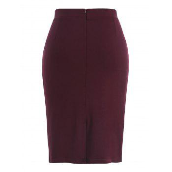 Jupe Taille Plus PU - Rouge Vineux 2X