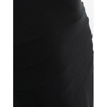 Plus Size Zipper Skew Button Skirt - BLACK 1X