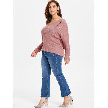 Plus Size Slim Fit Ribbed Panel Sweater - LIPSTICK PINK 2X