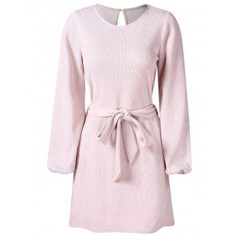 long sleeve belted dress