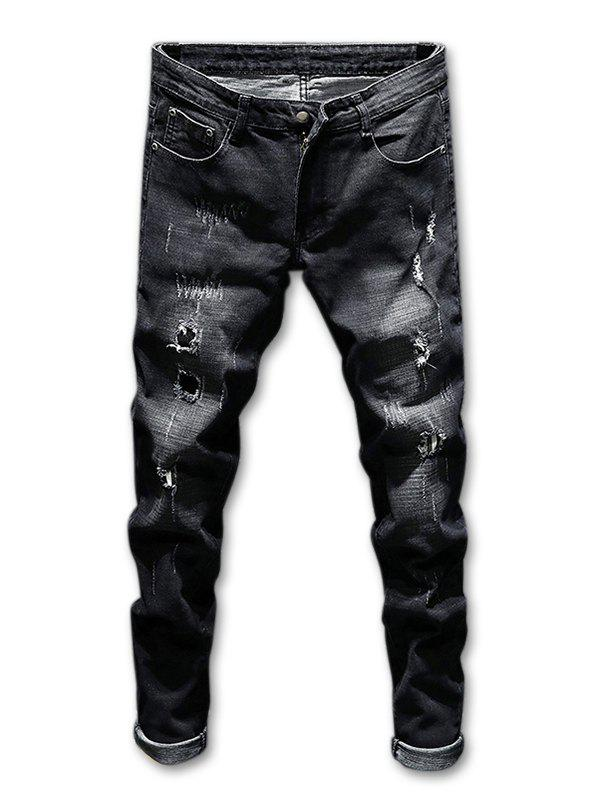 Destroyed Zip Fly Faded Wash Jeans - BLACK 38