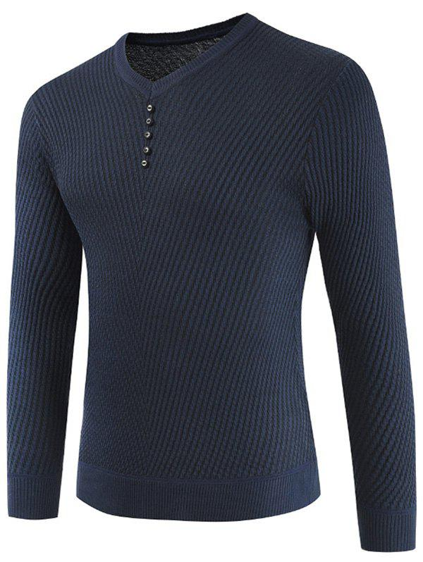Buttons Decorated Casual Pullover Sweater - DARK SLATE BLUE XL