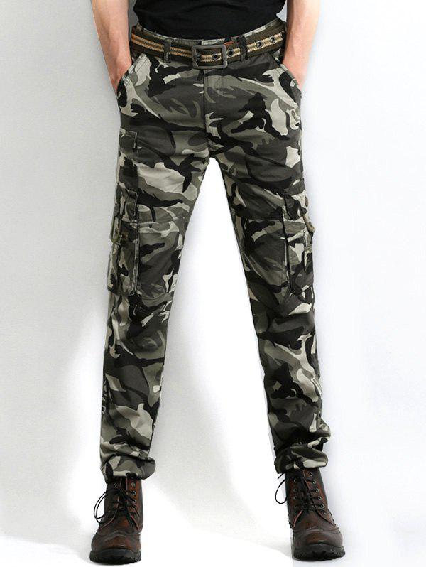 Multi Pocket Camo Print Cargo Pants - GRAY CLOUD 38