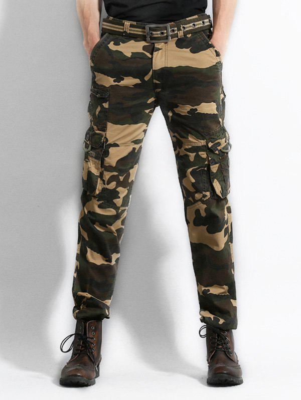 Multi Pocket Camo Print Cargo Pants - CAMOUFLAGE GREEN 34