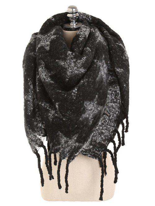 Vintage Star Fringed Thicken Long Scarf - BLACK