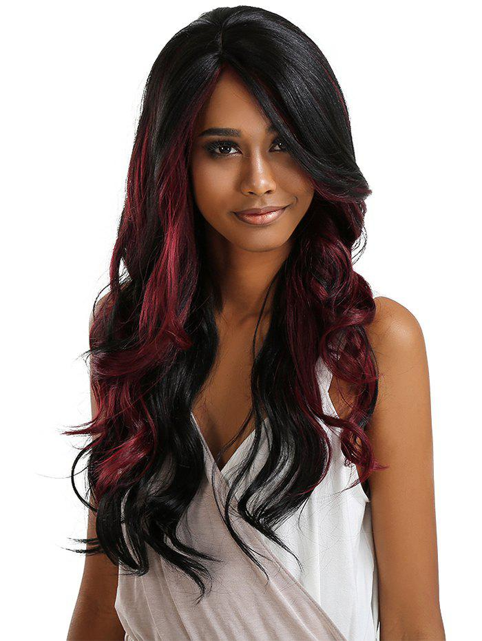 Long Side Parting Ombre Wavy Synthetic Lace Front Party Wig - multicolor A