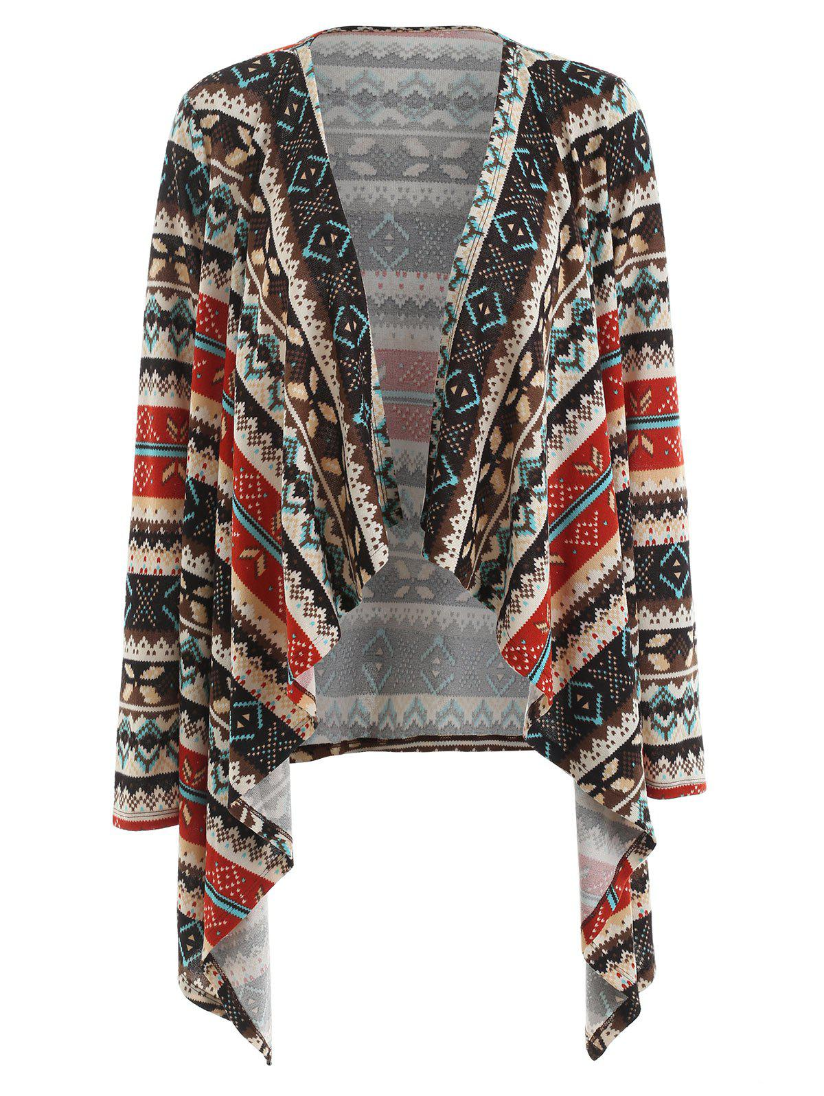 Christmas Print Waterfall Cardigan - multicolor M