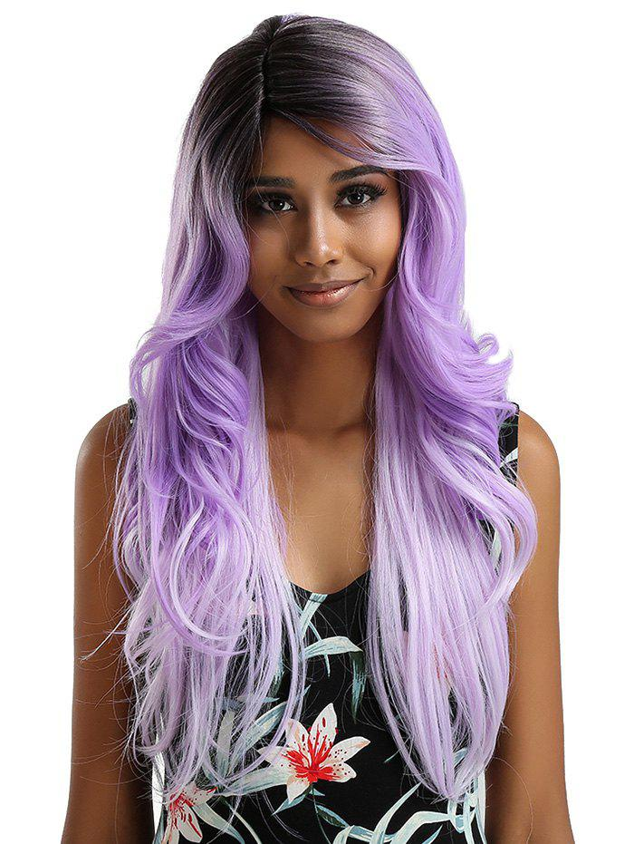 dresslily - Long Side Bang Feathered Flip Wavy Synthetic Lace Front Wig