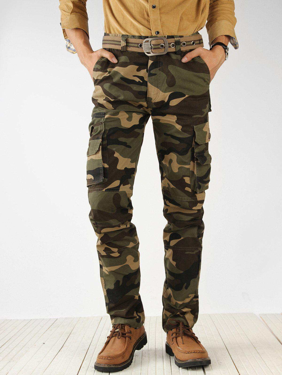 Zip Fly Camouflage Print Cargo Pants - CAMOUFLAGE GREEN 32
