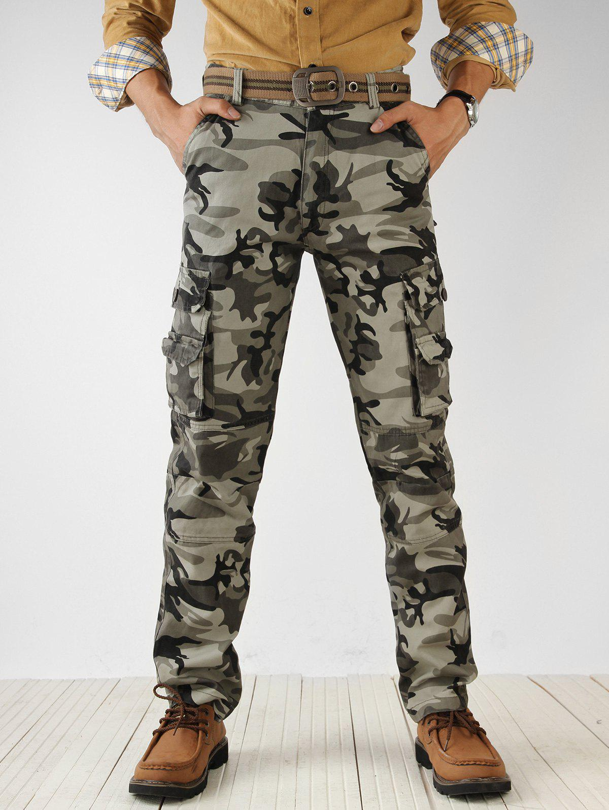 Zip Fly Camouflage Print Cargo Pants - ACU CAMOUFLAGE 32