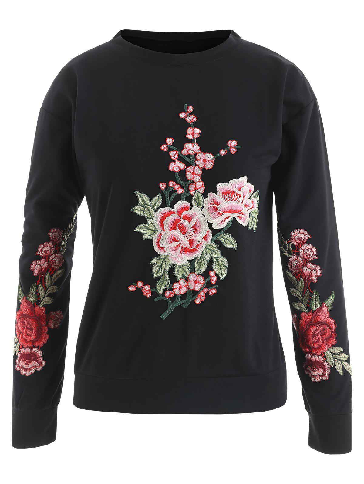 Flower Embroidered Sweatshirt - BLACK M