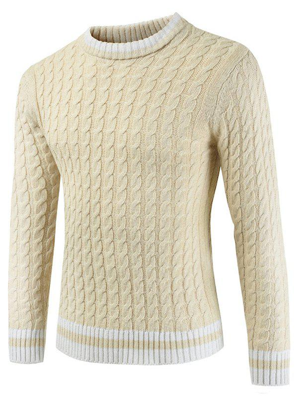 Round Neck Casual Ringer Sweater - CORNSILK M