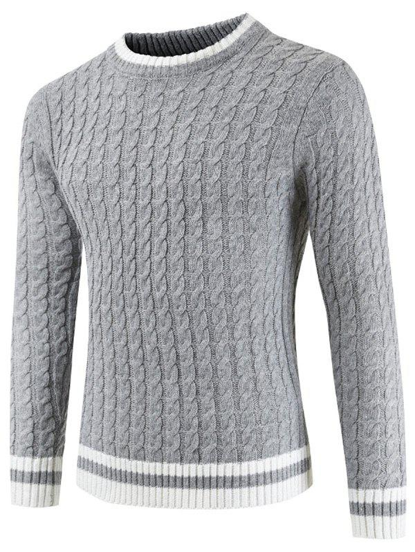 Round Neck Casual Ringer Sweater - GRAY CLOUD XL