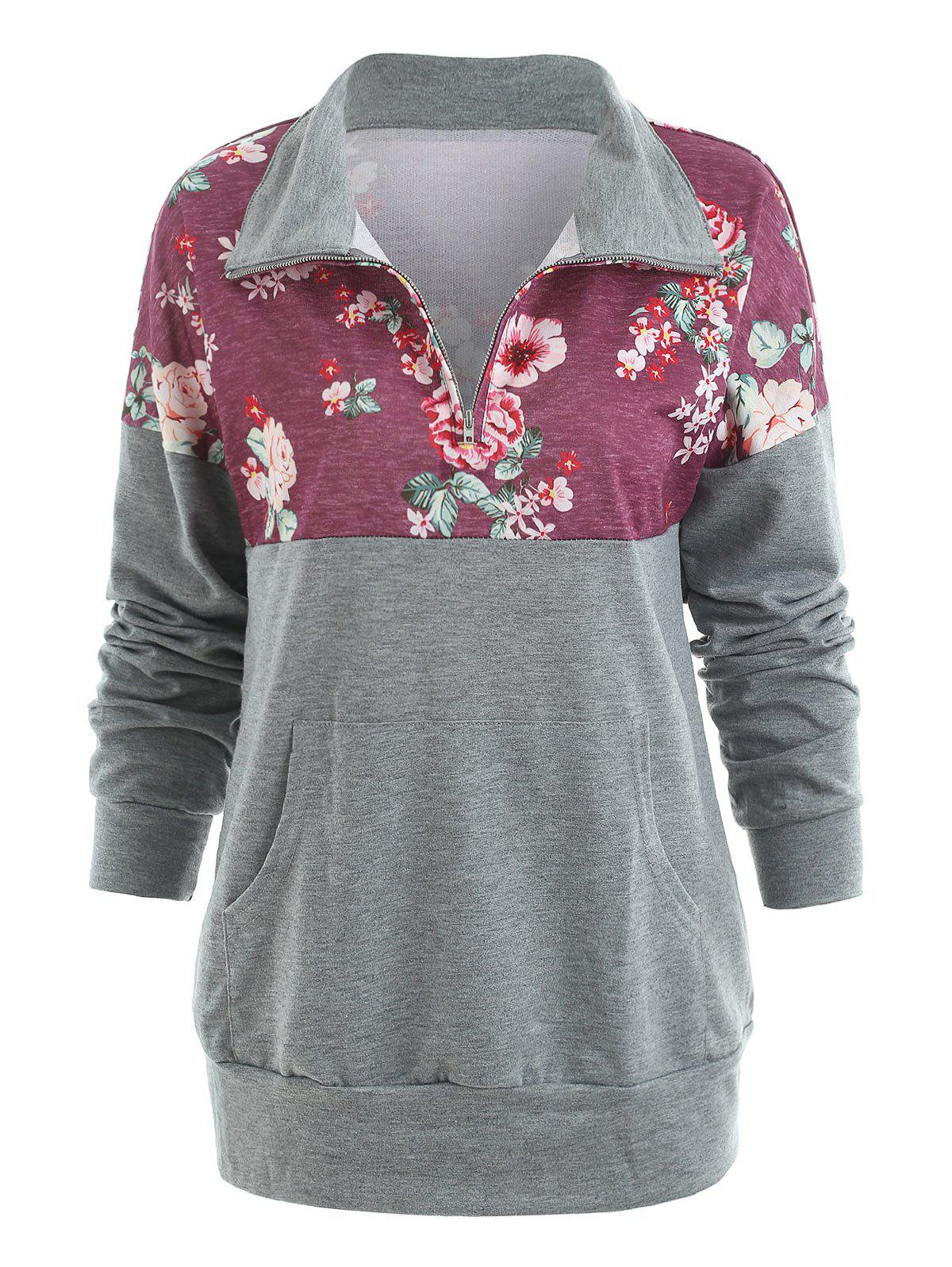 Half Zip Floral Pocket Sweatshirt - BASHFUL PINK S