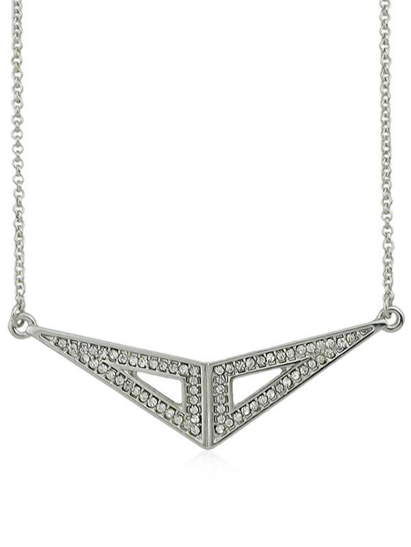 Collier en Forme de Triangles en Strass - Argent