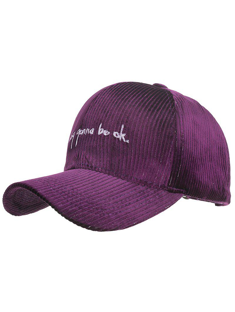 Stylish Letter Embroidery Corduroy Baseball Cap - PLUM VELVET