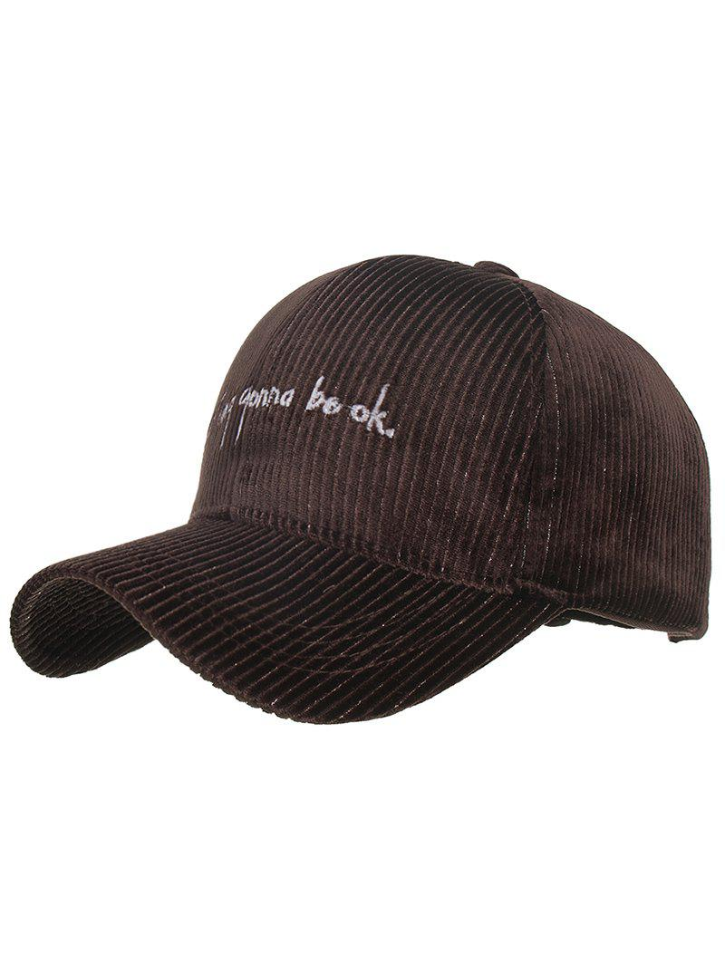 Stylish Letter Embroidery Corduroy Baseball Cap - COFFEE