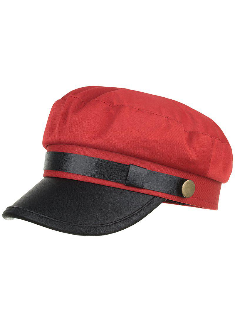 Vintage Solid Color PU Leather Army Hat - RED