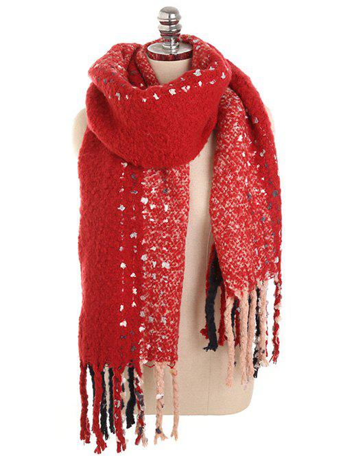 Winter Long Fringed Thicken Scarf - RED