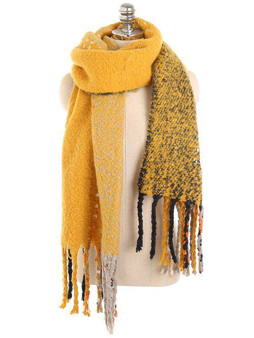Winter Long Fringed Thicken Scarf - BRIGHT YELLOW