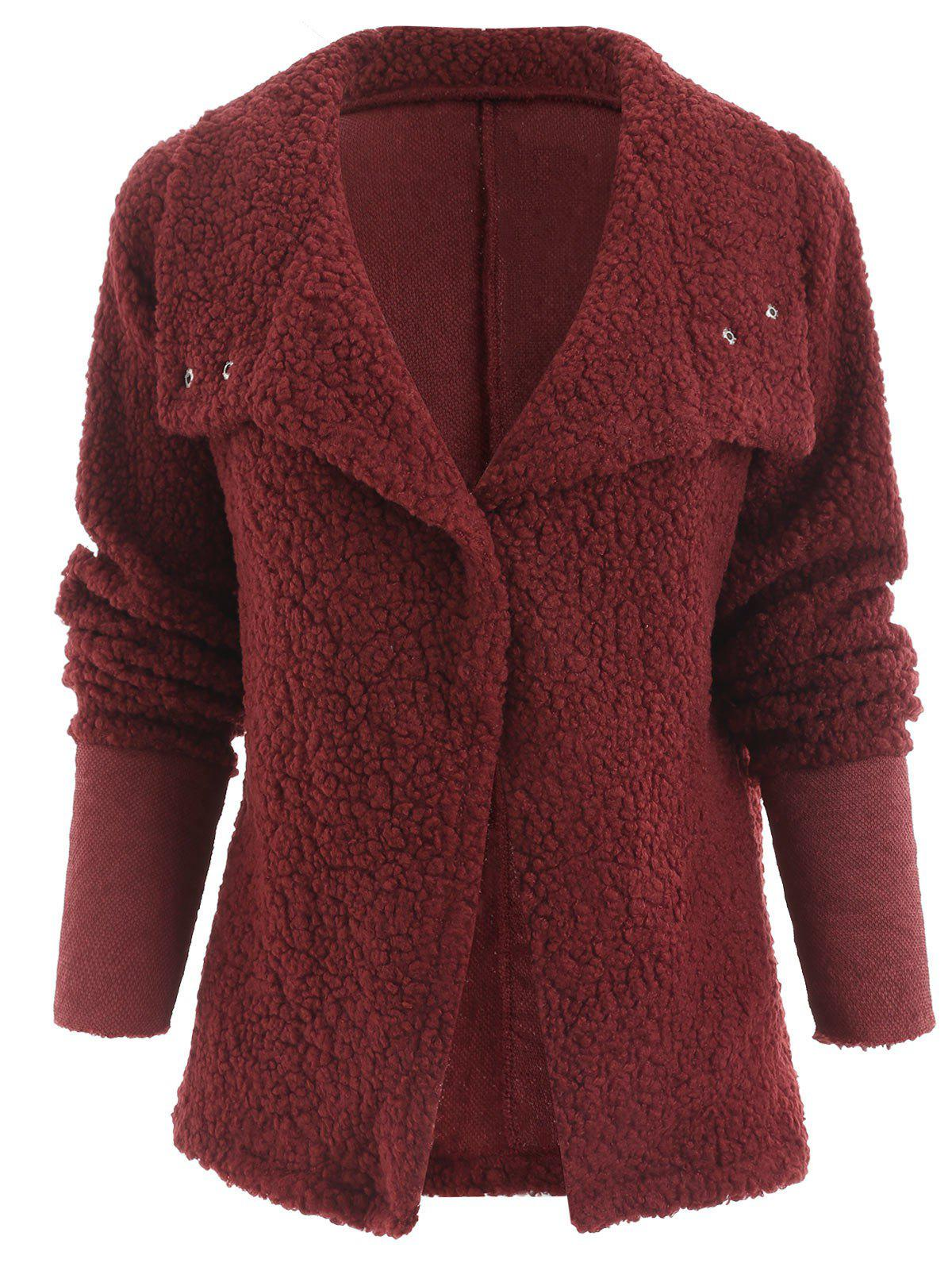 Buttons Fuzzy Coat - RED XL