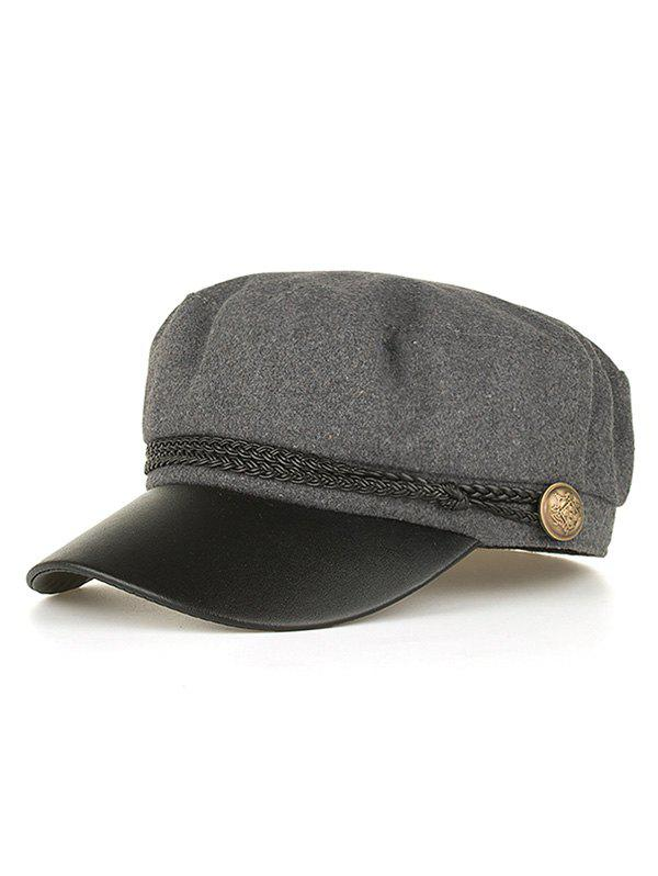 Vintage PU Leather Braided Band Military Hat - GRAY