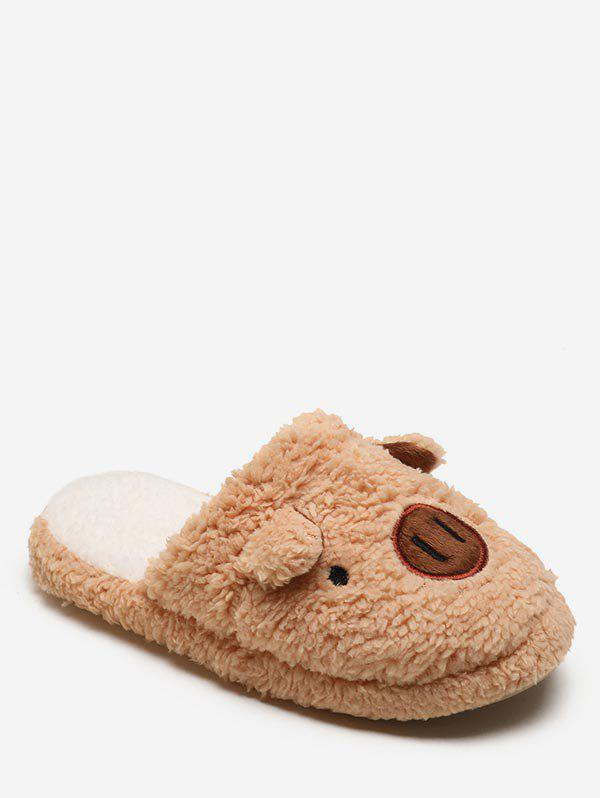 Lovely Piggy Faux Fur Slippers - LIGHT KHAKI EU 40