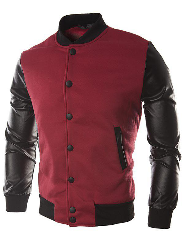 False Leather Sleeve Slash Pocket Jacket - RED WINE S