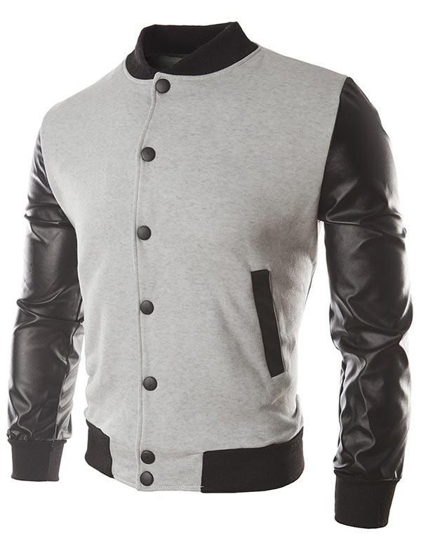 False Leather Sleeve Slash Pocket Jacket - LIGHT GRAY M