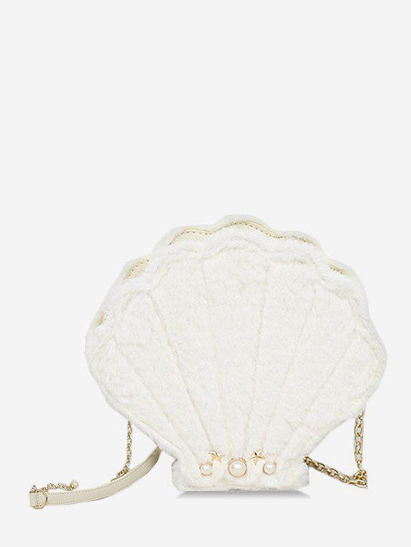 Shell Shape Faux Fur Chain Crossbody Bag - WHITE