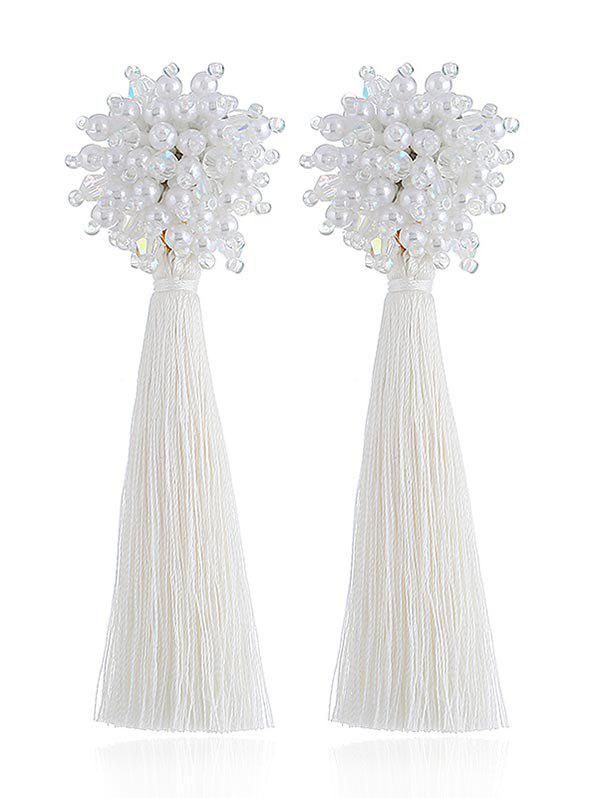 Vintage Long Tassel Party Gift Earrings - WHITE