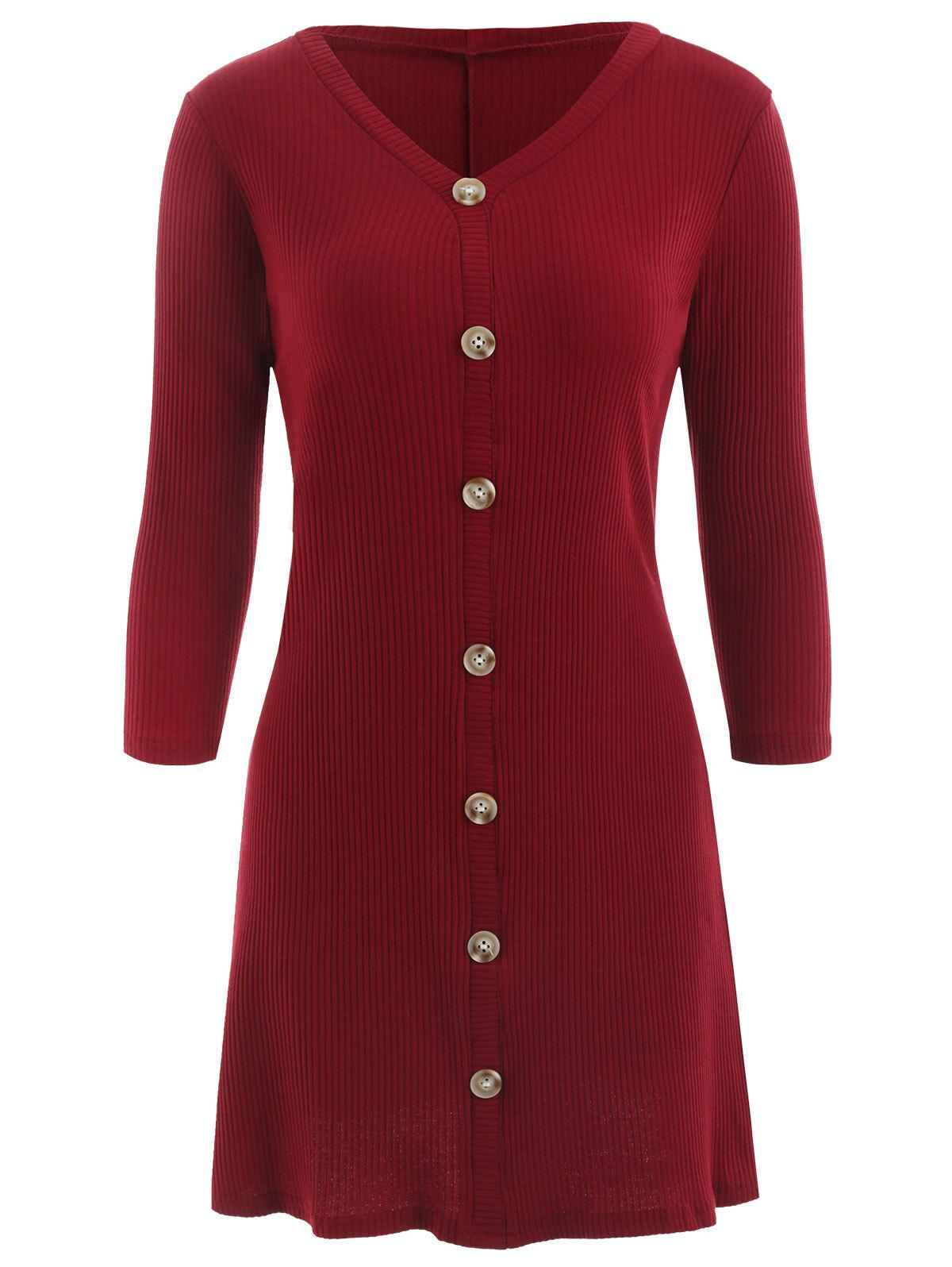Ribbed Dress with Buttons - RED WINE XL