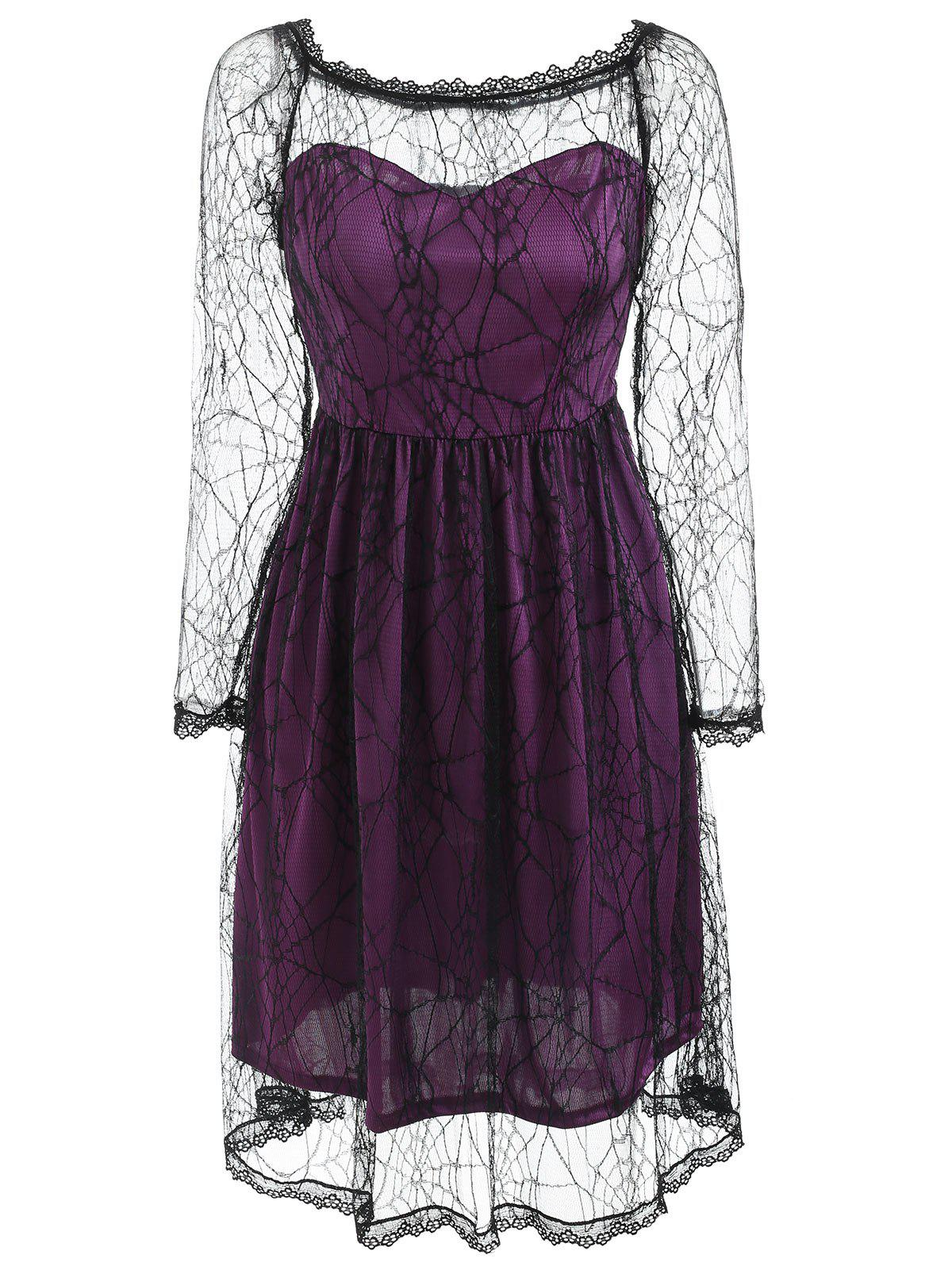 Halloween Spider Web Lace Dress - PURPLE M