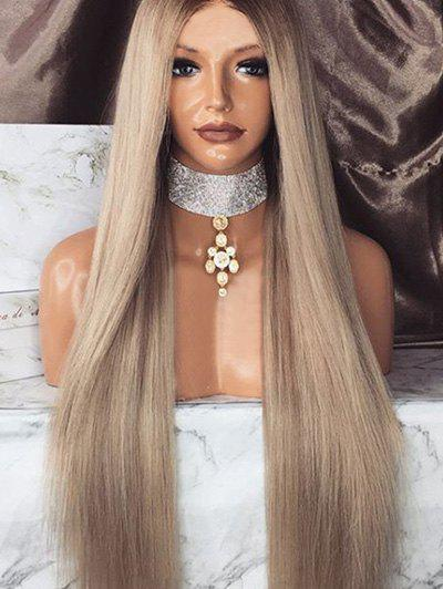 Middle Part Colormix Long Straight Synthetic Wig - multicolor
