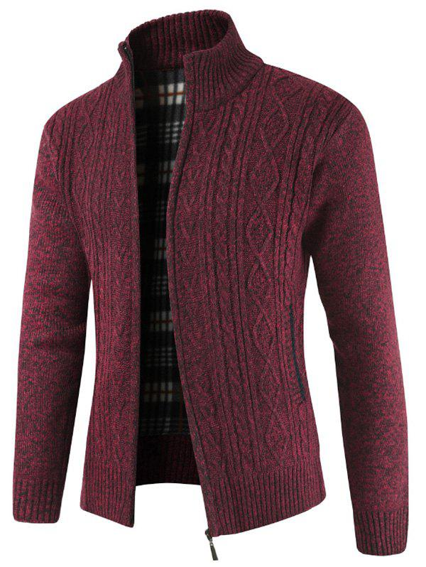 Faux Pocket Casual Zipper Sweater - RED WINE S