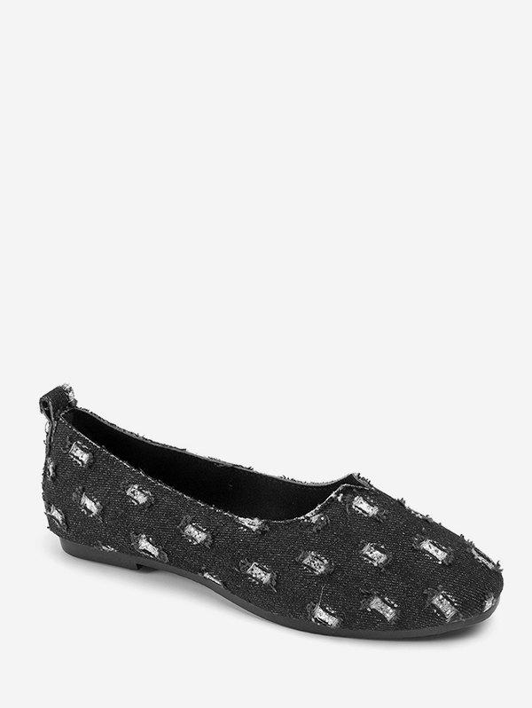 Ripped Denim Slip On Loafers - BLACK EU 36