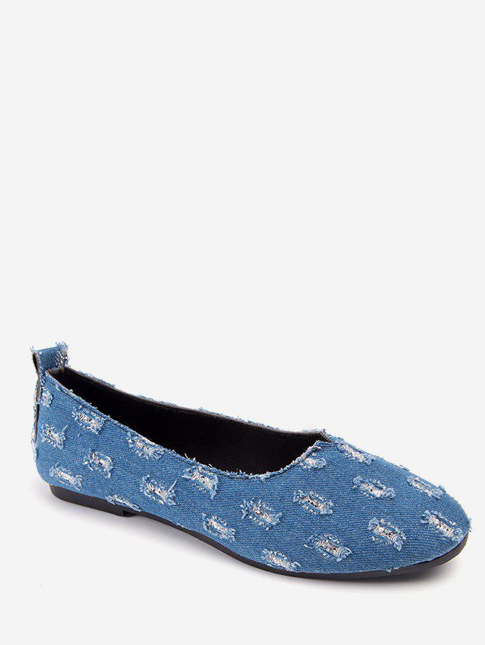 Ripped Denim Slip On Loafers - BABY BLUE EU 40