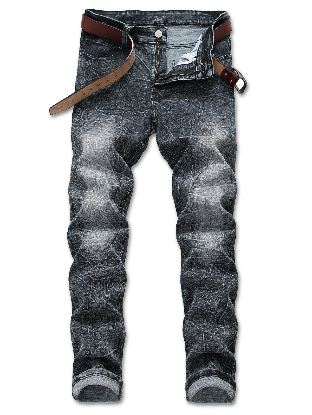 Distressed Faded Zipper Fly Jeans - GRAY 34