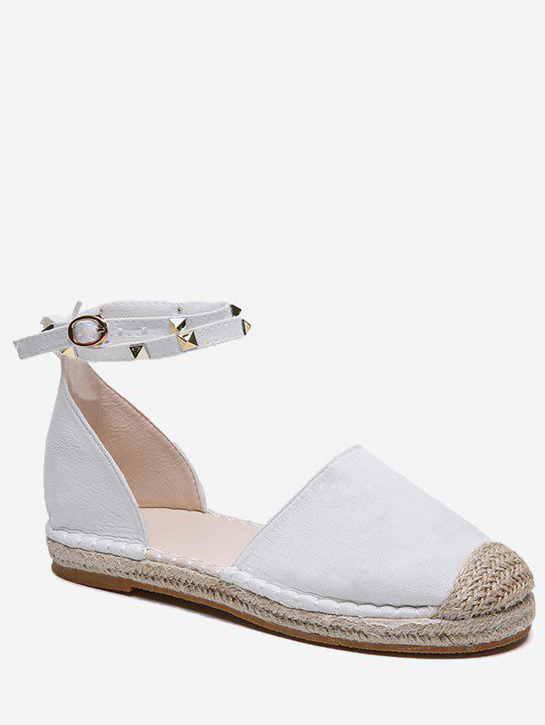 Rivet Strap Straw Braided Flats - WHITE EU 42