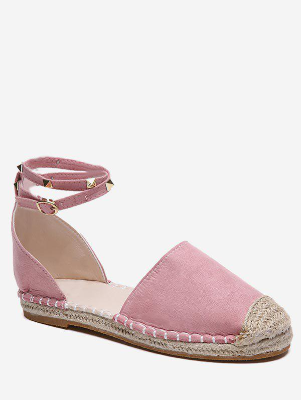 Rivet Strap Straw Braided Flats - LIGHT PINK EU 37
