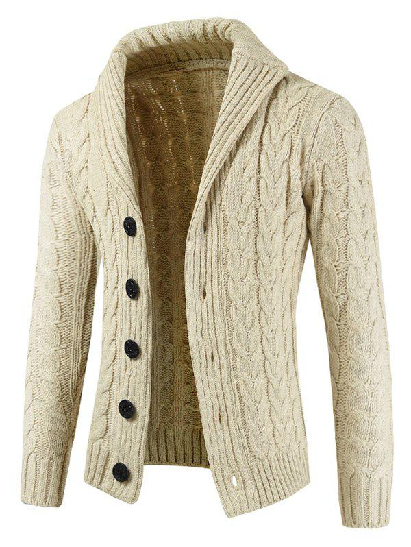 Rundown Lapel Collar Casual Knitted Sweater - BEIGE XS