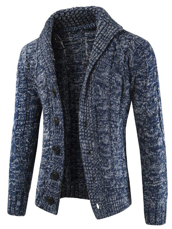 Rundown Lapel Collar Casual Knitted Sweater - MIST BLUE S