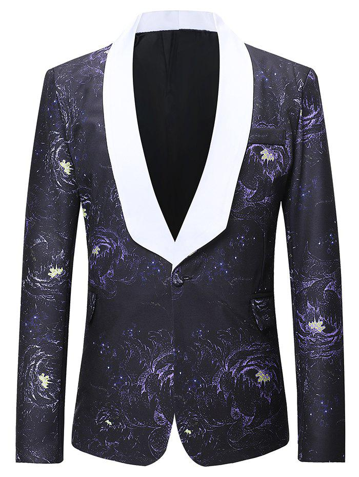 Flap Pocket Design Galaxy Pattern Blazer - multicolor XL
