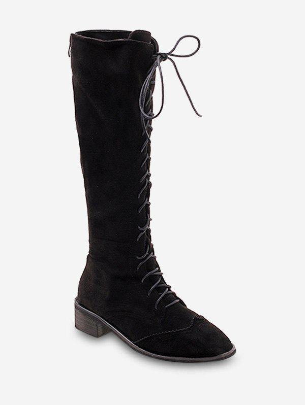 Lace Up Suede Knee High Boots - BLACK EU 39