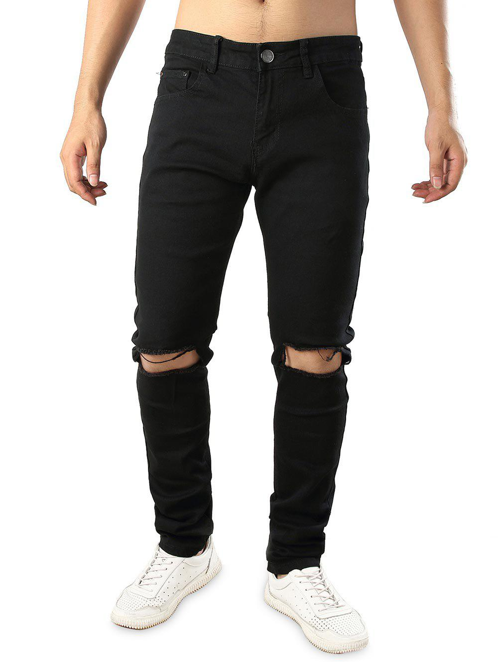 Stretchy Destructed Whickers Casual Ripped Jeans - BLACK 40