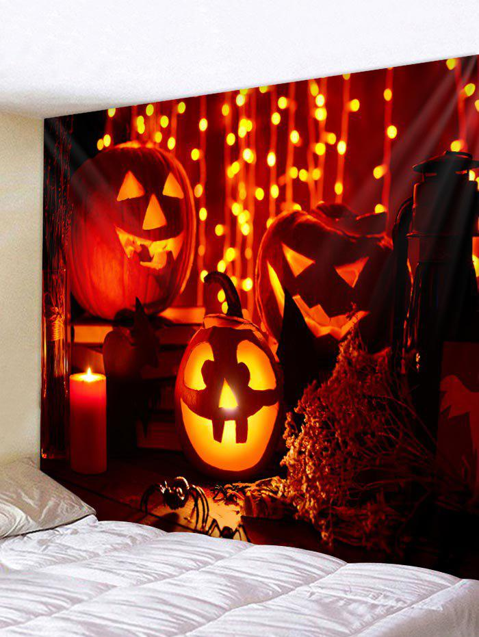 Halloween Pumpkin Candle Print Wall Tapestry Art Decoration - multicolor W79 X L59 INCH