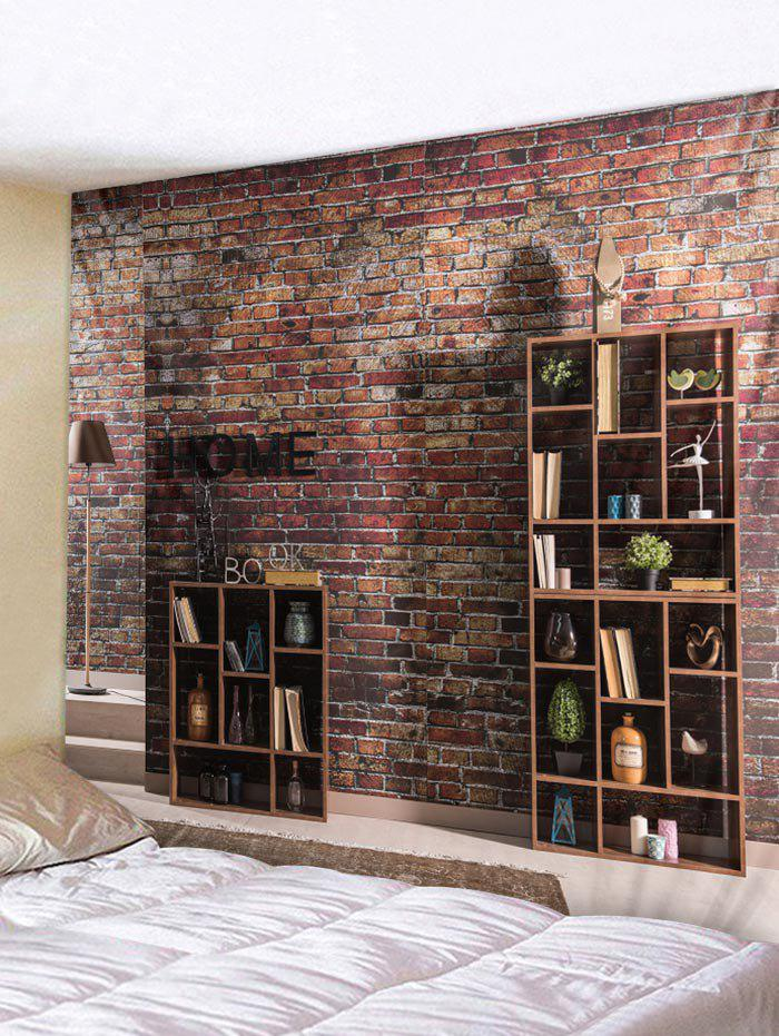Brick Wall Bookrack Printed Tapestry Art Decor - multicolor W91 X L71 INCH