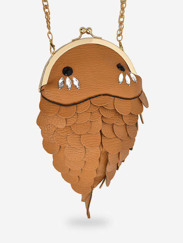 Rhinestone Fish Shape Chain Crossbody Bag - BROWN