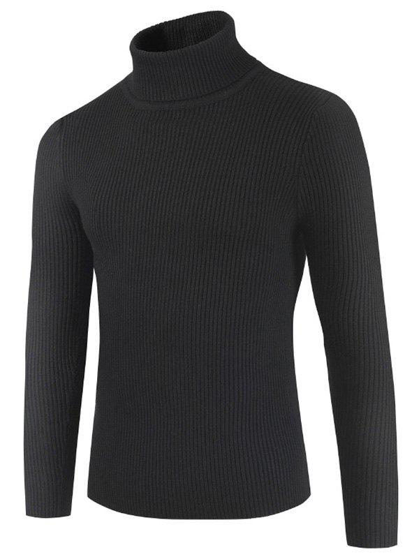Solid Color Embossment Stripe Sweater - BLACK S