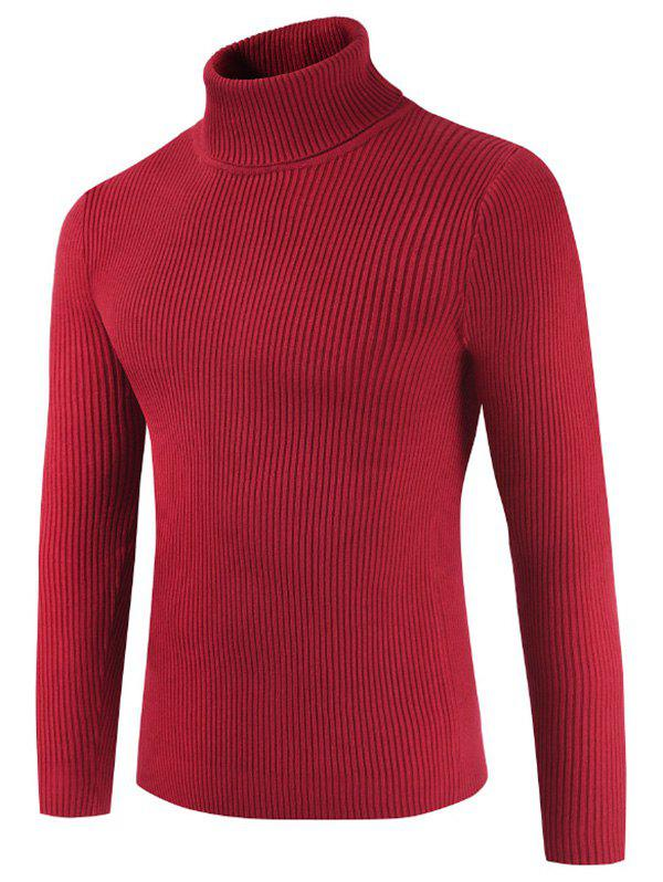 Solid Color Embossment Stripe Sweater - CHESTNUT RED M